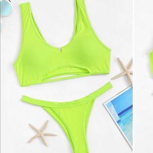Other - Neon yellow cut out bikini
